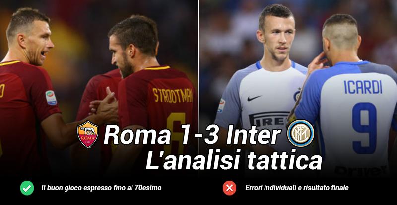 L'analisi tattica di Roma-Inter 1-3, una Roma padrona per 70′, poi le individualità dell'Inter fanno il vuoto