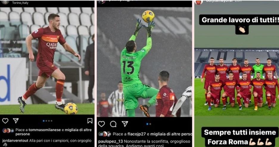 I giocatori della Roma orgogliosi dopo la Juve sui social: i tifosi la prendono male
